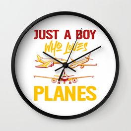 Just A Boy Who Loves Planes Airport Airline Flying Captain Plane Pilot Airplane T-shirt Design Wall Clock