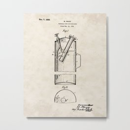 Portable Fire Extinguisher Vintage Patent Hand Drawing Metal Print