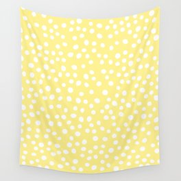 Pastel yellow and white doodle dots Wall Tapestry