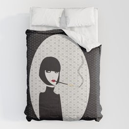 Dark lady smoking Comforters
