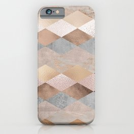 Copper and Blush Rose Gold Marble Argyle iPhone Case