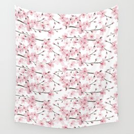 Watercolor cherry blossom Wall Tapestry