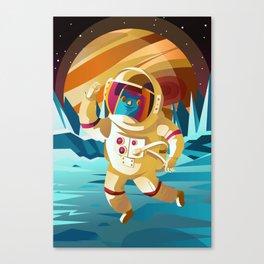 astronaut jumping on europe jupiter satellite surface Canvas Print