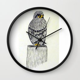 Fine Art New Zealand  Falcon in Graphite and Charcoal on 300 gsm  Wall Clock