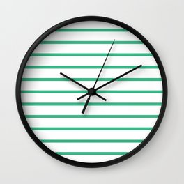Horizontal Lines (Mint/White) Wall Clock