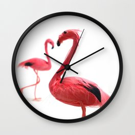 Pink Flamingos with Heart Wall Clock