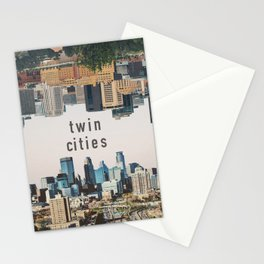 Twin Cities Minneapolis and Saint Paul Minnesota Skylines Stationery Cards