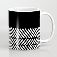 herringbone Mugs featuring Herringbone Boarder by Project M
