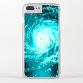 WaTeR Aqua Turquoise Hurricane Clear iPhone Case