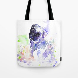 Purple Pug Puppy Tote Bag