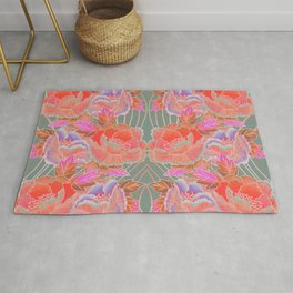 Peonies Pattern with Waves - Red, Pink, Purple, Green Rug