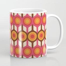Magenta, Orange, Ivory & Brown Retro 1960s Circle Pattern Coffee Mug