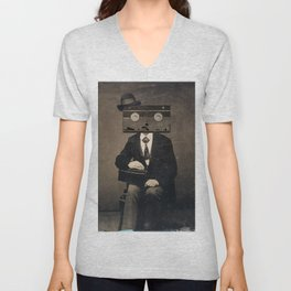 Faces of the Past: VHS Unisex V-Neck