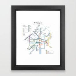 Philadelphia Transit Map Framed Art Print