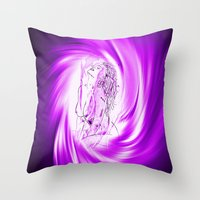 erotic Throw Pillows featuring Space and time 8  Erotic by Walter Zettl