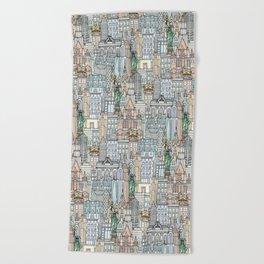 New York watercolor Beach Towel