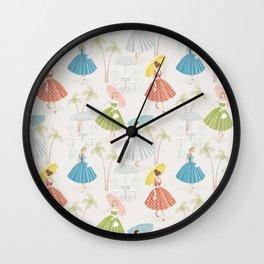 Women With Parasols Mid Century Summer Wall Clock
