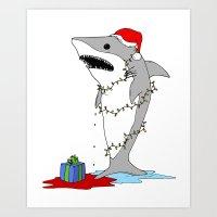 Santa Shark Art Print