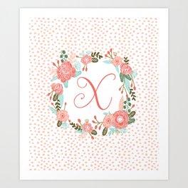 Monogram X - cute girls coral florals flower wreath, coral florals, baby girl, baby blanket Art Print