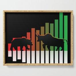 Bear VS Bull Stock Exchange Money Profit Shareholder Share Gift Serving Tray