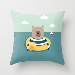 Bear in the Sea Throw Pillow