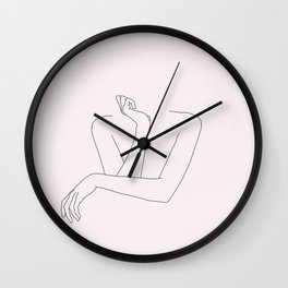 Woman's crossed arms line drawing - Anna Natural Wall Clock