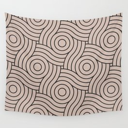 Circle Swirl Pattern Pink Inspired By Rosy Mauve Pink - Blushing Bride Pink - Cathedral Morning Pink Wall Tapestry
