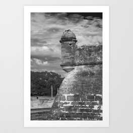 Castillo de San Marcos - black and white Art Print