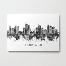 Johor Bahru Malaysia Skyline BW Metal Print