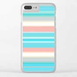 On the beach, Mexican inspired, striped pattern, pastel colors. Clear iPhone Case