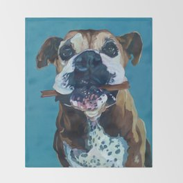 My Happy Abby Boxer Girl Portrait Throw Blanket
