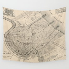 Vintage Map of New Orleans Louisiana (1885) Wall Tapestry
