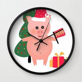 Christmas, pig year Wall Clock