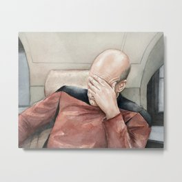Picard Facepalm Meme Funny Geek Sci-fi Captain Picard TNG Metal Print