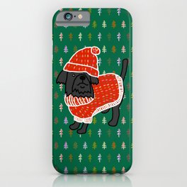 Cute dog in a Christmas tree sweater and matching hat iPhone Case