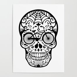 Vintage Mexican Skull with Bicycle - black and white Poster