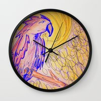parrot Wall Clocks featuring PARROT  by MAGIC DUST