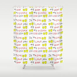 Je t'aime 7-i love you,je t'aime,te amo,te quiero,ich liebe dich,love,romantism,romantic,heart,cute Shower Curtain