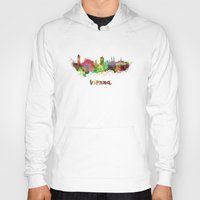 vienna Hoodies featuring Vienna skyline in watercolor by Paulrommer