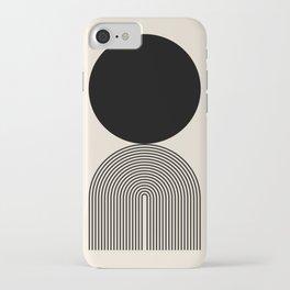 Abstraction_BLACK_DOT_LINE_ART_Minimalism_003C iPhone Case