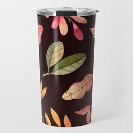 Pink orange yellow brown watercolor fall acorn leaves Travel Mug