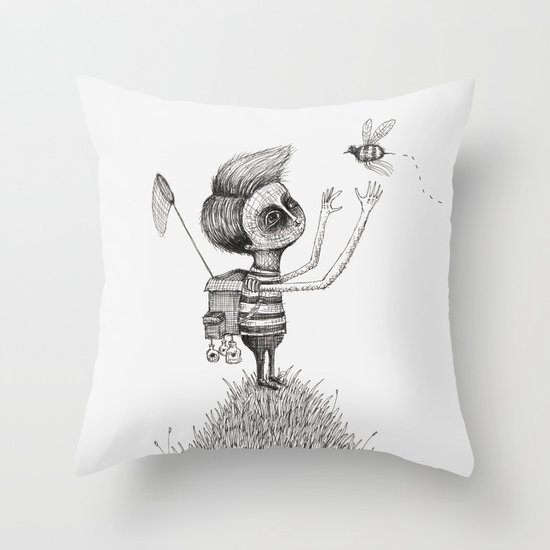 'The Bug Collector' (Colour Option) Throw Pillow