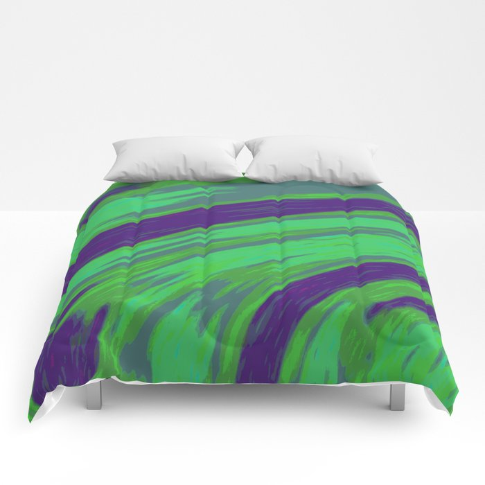 Green Blue Swish Abstract  Comforters