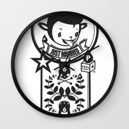 LOVE LIFE - JUST MARRIED BADGE Wall Clock