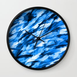 Blue on Blue Designer Camouflage pattern Wall Clock
