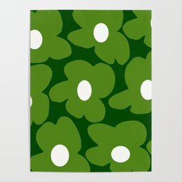 Spring Green Retro Flowers Dark Green Background #decor #society6 #buyart Poster