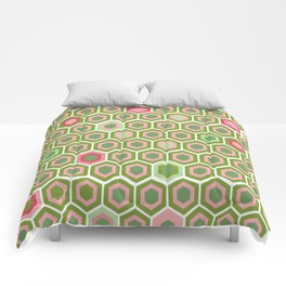 Pink and Green Honeycomb Comforters