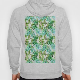Hand painted teal green watercolor tropical leaves Hoody