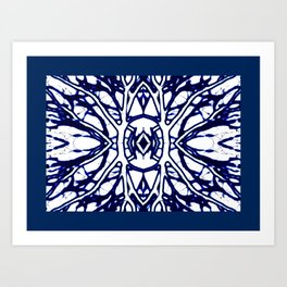 Blue And White abstract art Art Print