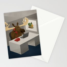 Maurice, the moose who wanted to work in an office Stationery Cards